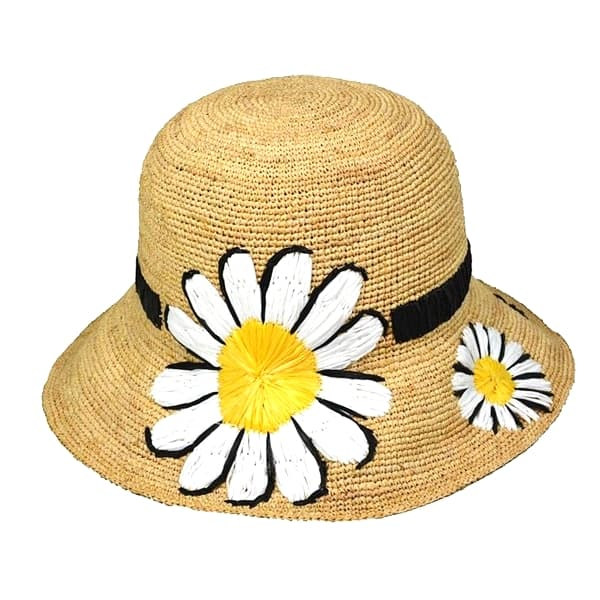 women natural embroidered daisy raffia sun hat