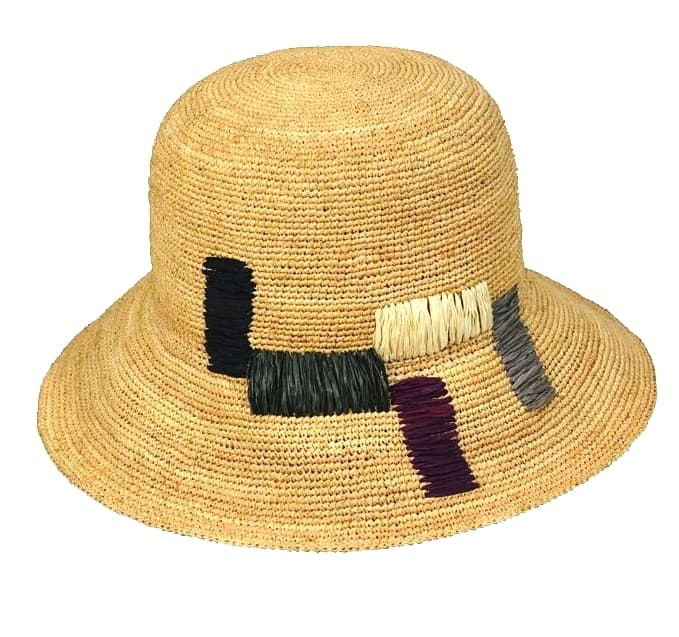 raffia straw sun hat with embroidery