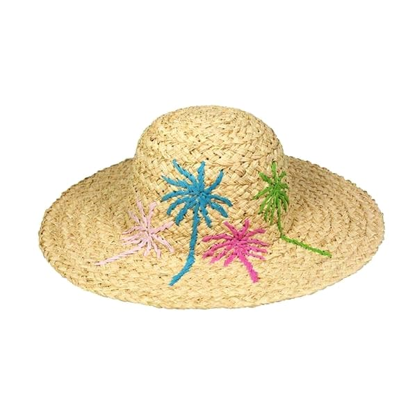 wide brim raffia braid sun hat with embroidery
