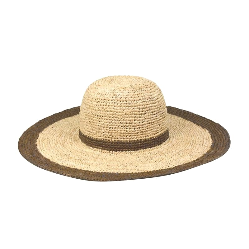 Wide Brim Raffia Hat with Contrast Trim