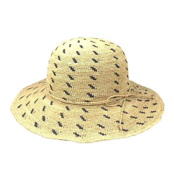 Wide Brim Raffia Hat with dots trimmings