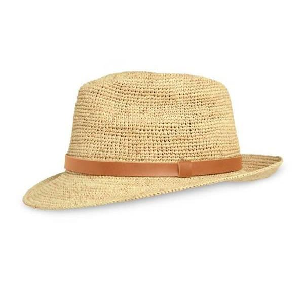 raffia straw fedora hat with leather trim