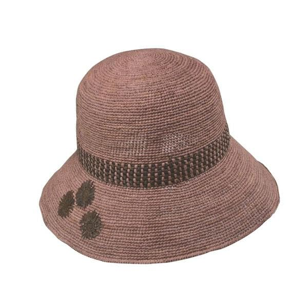 fine crocheted raffia straw sun hat with embroidery
