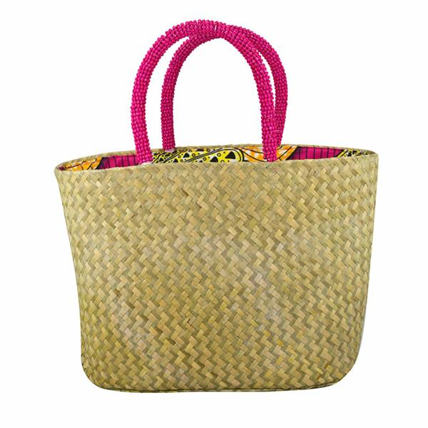 sea grass tote with beaded handles
