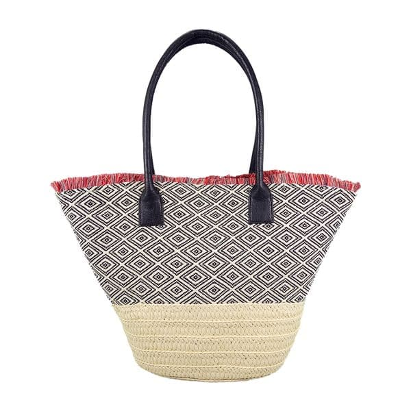 Straw Handbag tote with fringes