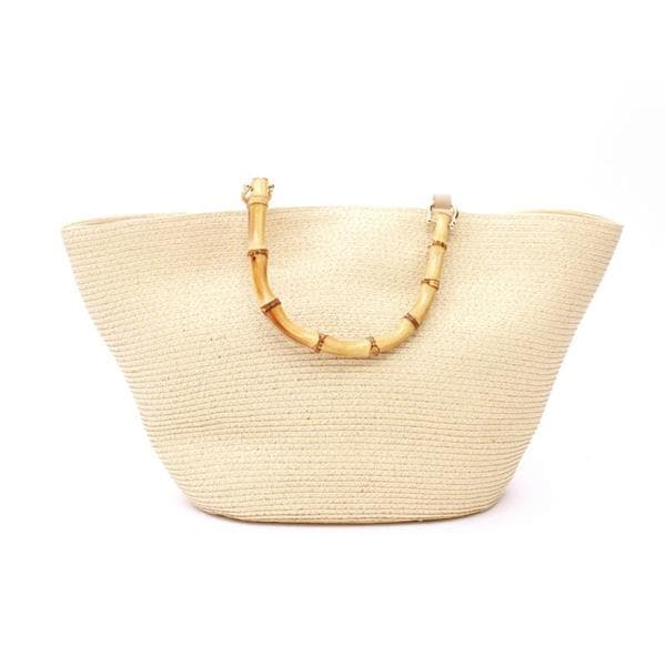 straw designer bag with bamboo handles