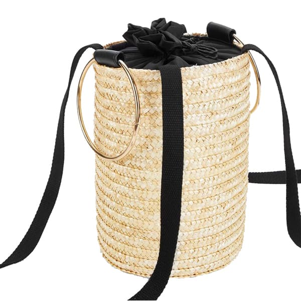 Straw Bucket Bag With Ring Handle
