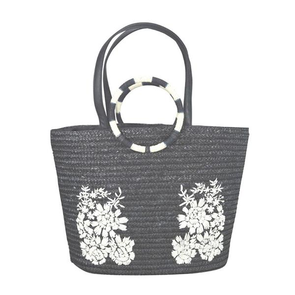 Fashion Eco-friendly embroidery woven tote shopping wheat straw beach bag tote with PU handle