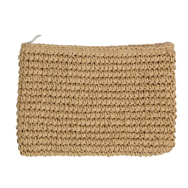 handmade crochet straw clutch