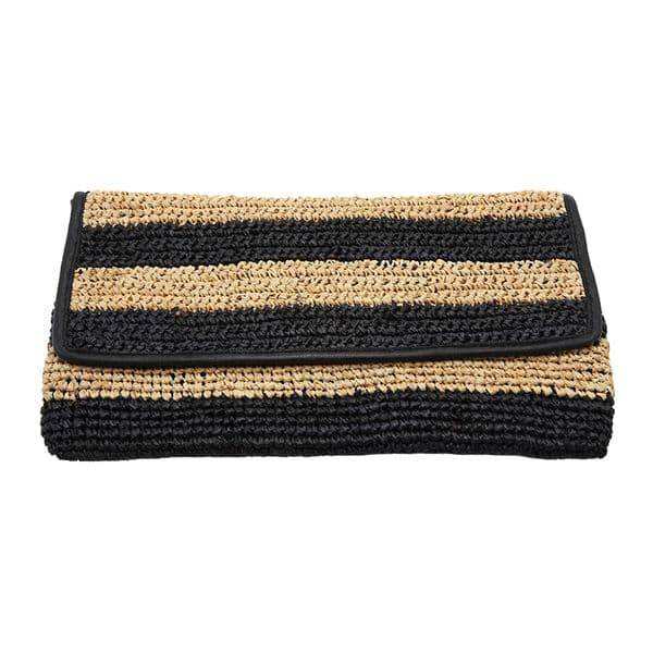 Straw striped crochet raffia clutch