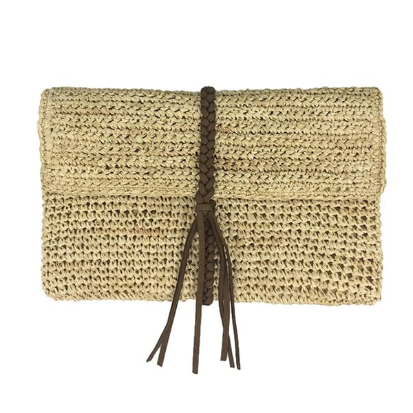 Straw raffia crochet clutch with braid trim