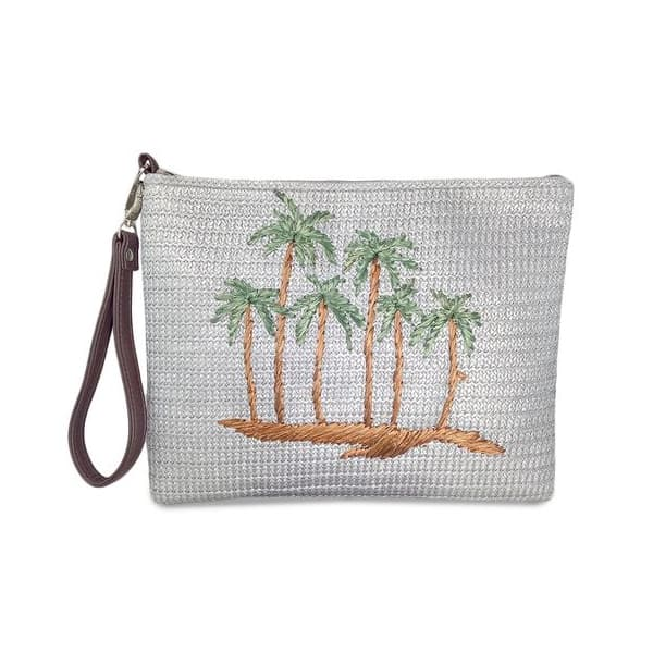 Palm tree embroidery straw clutch bag