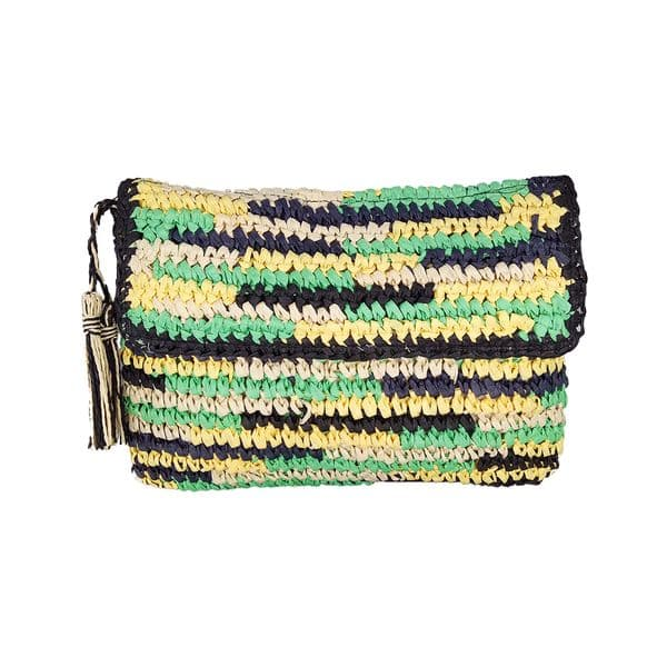 Multicolor paper straw clutch