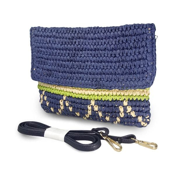 Crochet straw envelope shoulder crossbody bag