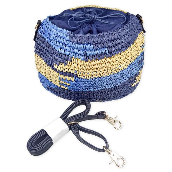 Crocheted straw shoulder bag