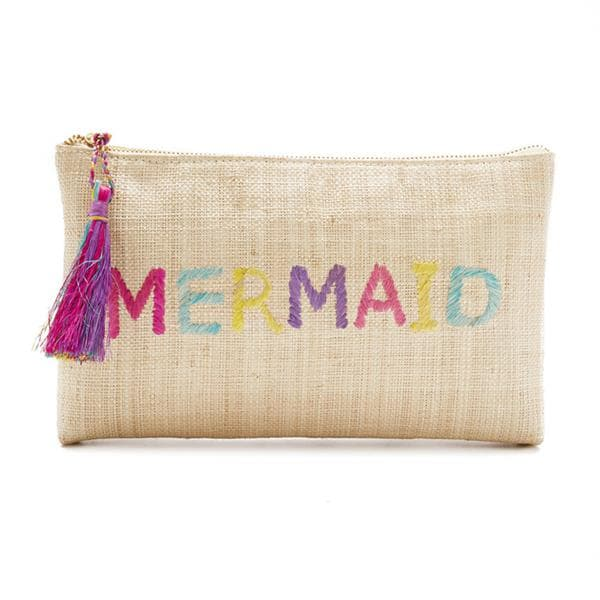 natural straw raffia clutch with embroidery