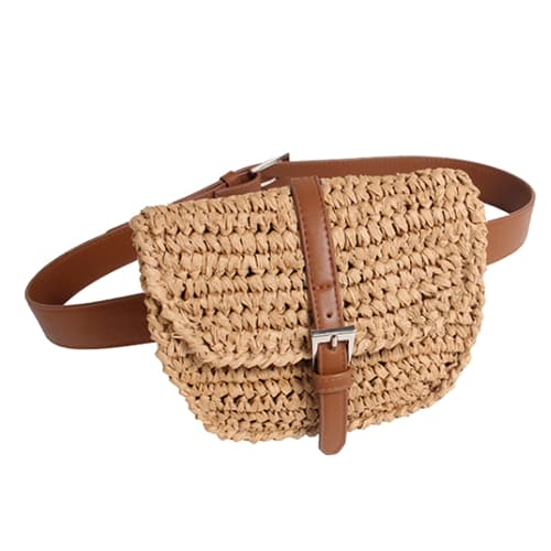 summer straw waist bag for women