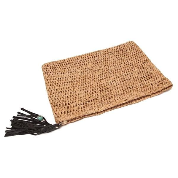 raffia clutch with leather tassels
