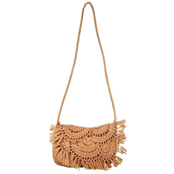 fringes straw clutch