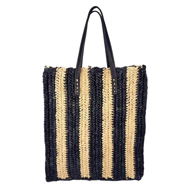 Straw striped raffia tote bag