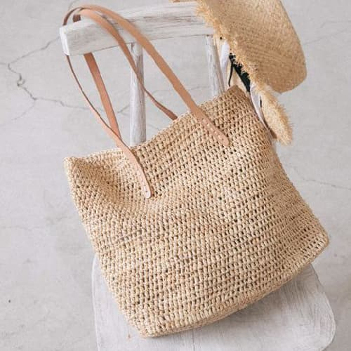 Straw Travel Tote in Natural