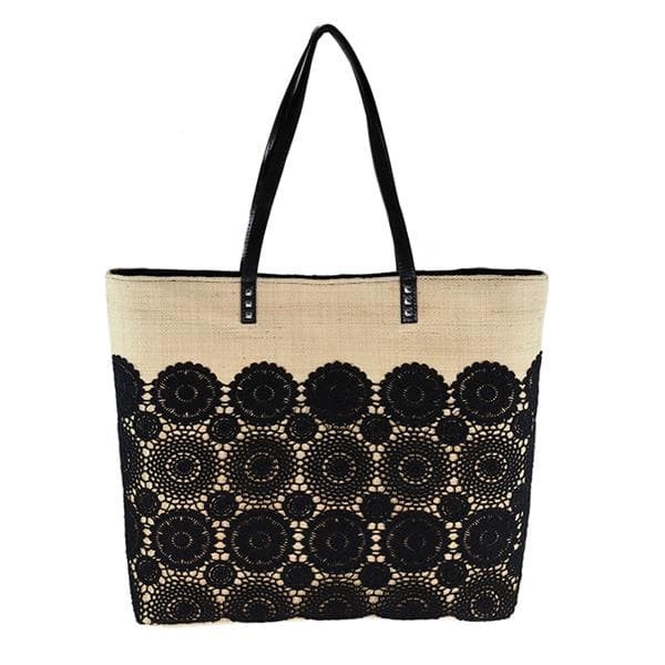 Large straw raffia bag with black lace trimmings