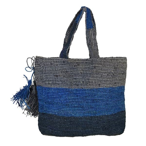 Madagascar Straw striped raffia beach tote bag