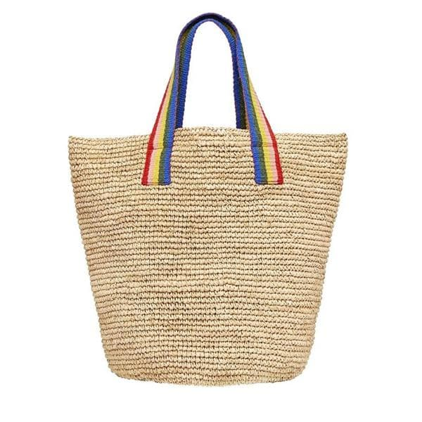 oversized straw tote in natural raffia with handwoven rainbow handles