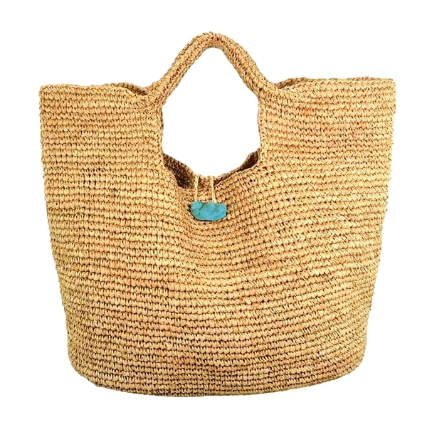 Everyday raffia straw bag with stone closure