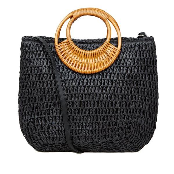 straw effect woven handle tote