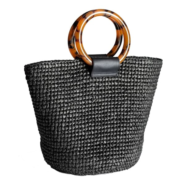 Handmade round straw tote bag with acrylic handle