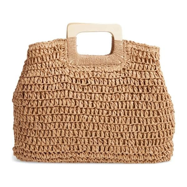 woven square handle satchel with wood handles