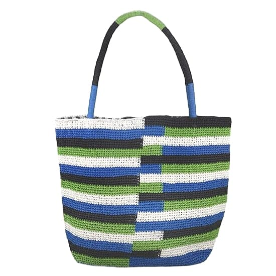 tight weave stripped straw tote bag