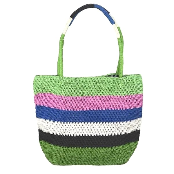tight weave stripped straw handbag tote