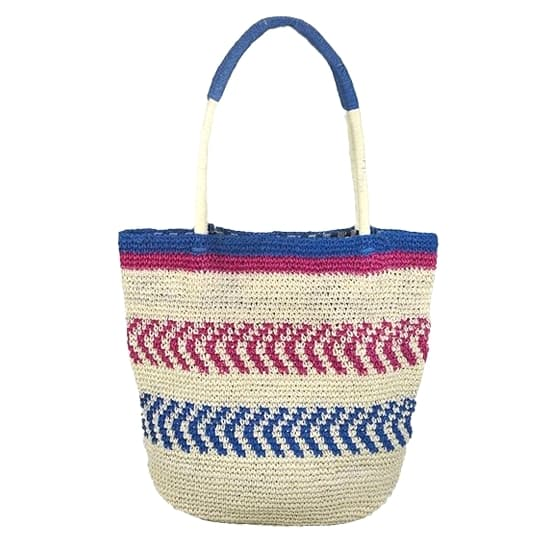 Designer stripped straw tote bag