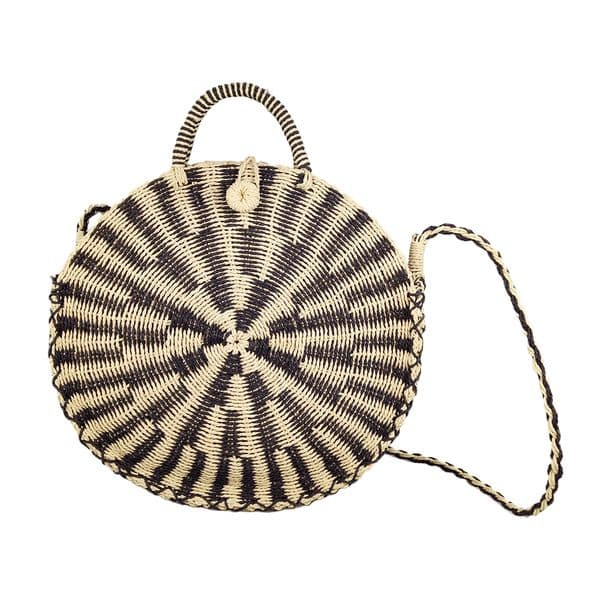 Circular crochet straw tote bag
