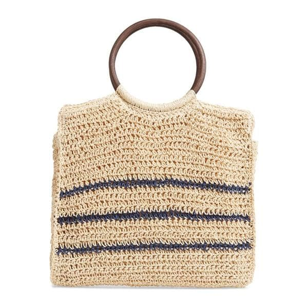 wood handles crocheted straw tote