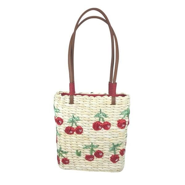 Fruit Cherry Straw Beach Bag for tote Bags Embroidery