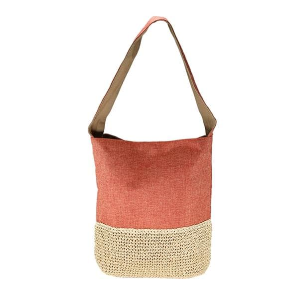 fabric bag with crocheted straw base
