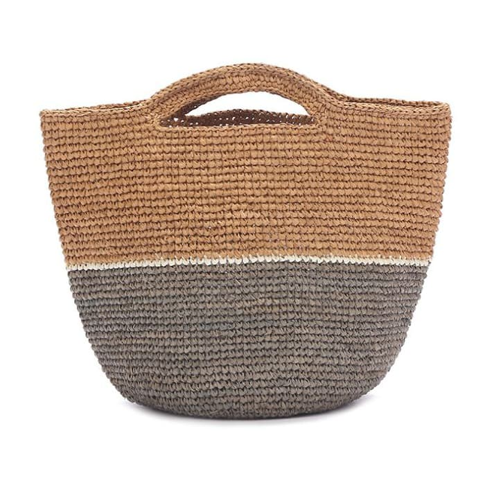 striped crocheted raffia tote