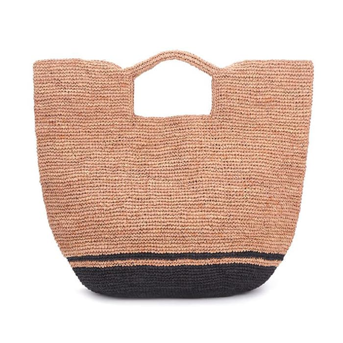 2 tone large raffia tote bag