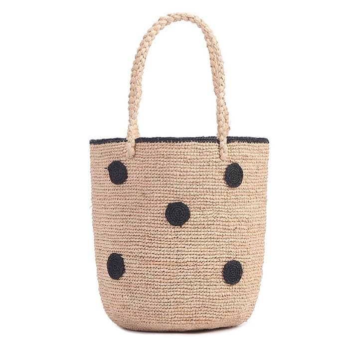 tight weave round raffia tote bag