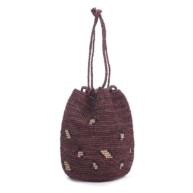 hand woven raffia bucket basket bag