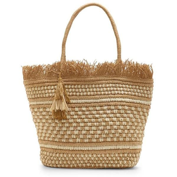 straw tote bag with tassels