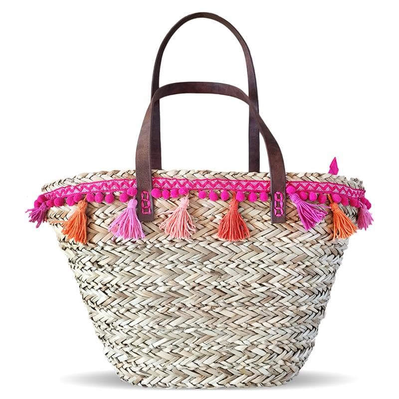 pom poms sea grass straw tote