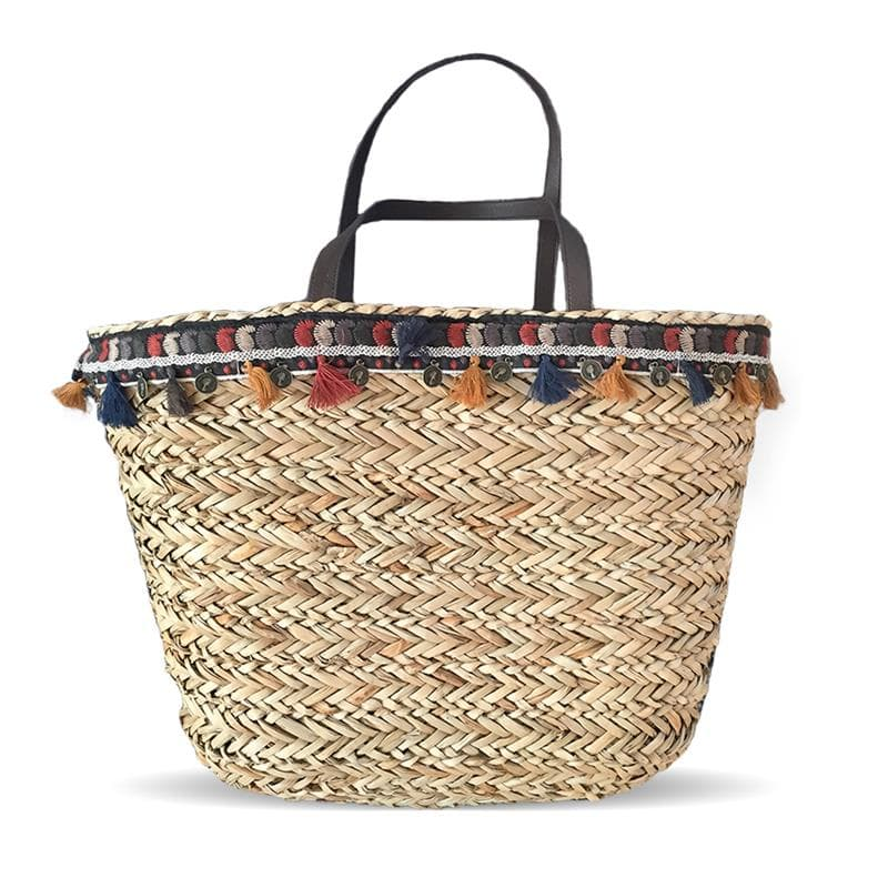 pom poms sea grass straw bag