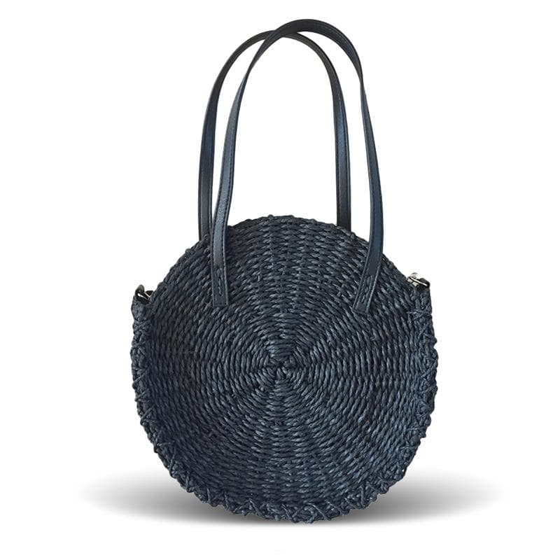 crocheted round straw tote