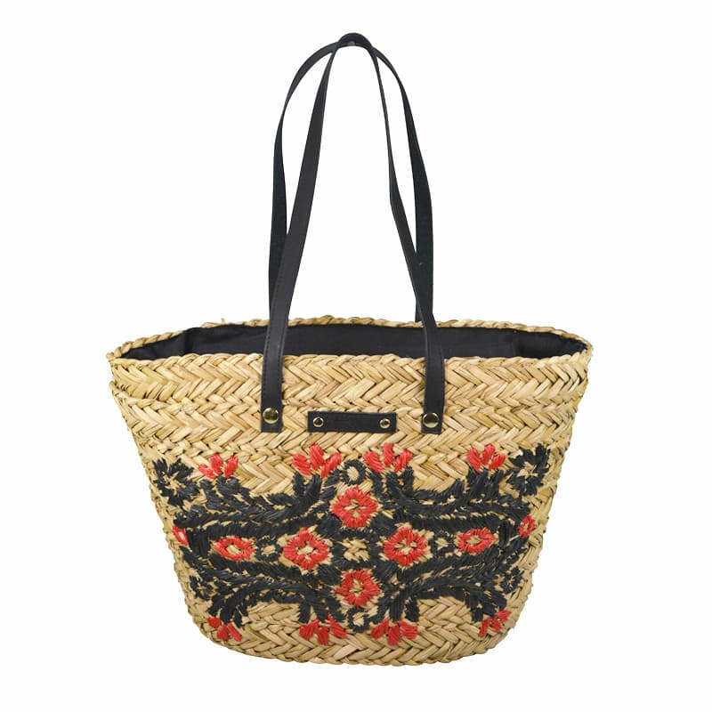 sea grass shoulder bag with embroidery
