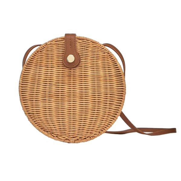 round wicker rattan crossbody bag