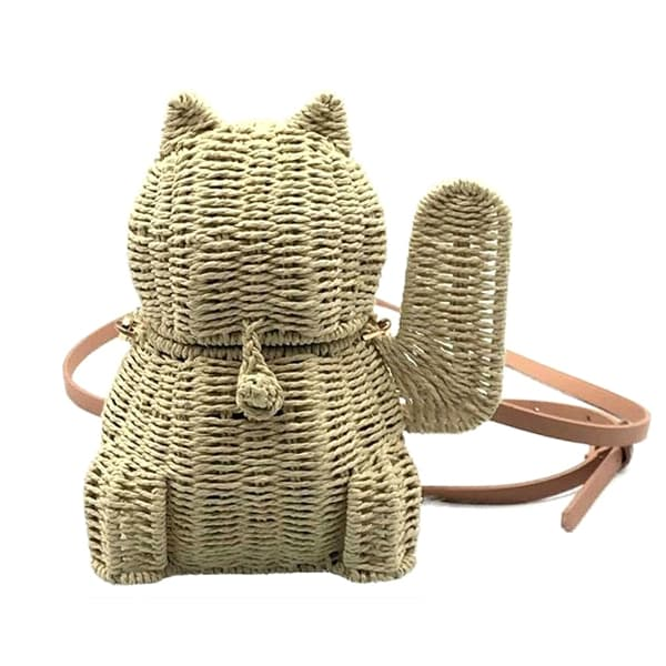 cat shape straw bag